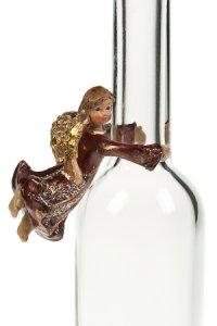 Flaschen-Engel rot aus Steinharz