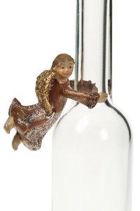 Flaschen-Engel braun aus Steinharz