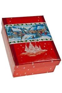 Geschenkbox Winterlandschaft rot