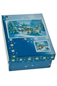 Geschenkbox Winterlandschaft blau
