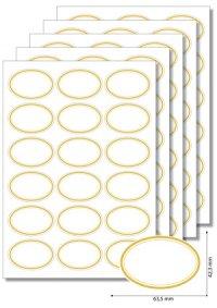 Etiketten oval Goldener Rahmen - 20 Blatt A4