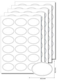Etiketten oval Silberner Rahmen - 20 Blatt A4
