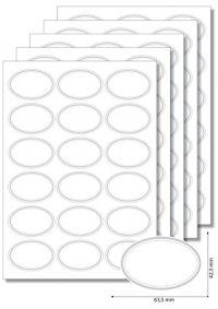 Etiketten oval Silberner Rahmen - 5 Blatt A4