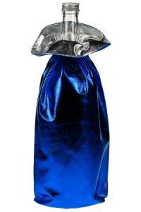 Geschenkbeutel blau metallic, Ø 10 x 35 cm