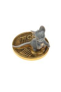 Vergoldeter Cent zum Aufkleben Mäuschen grau