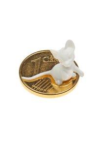 Vergoldeter Cent zum Aufkleben Mäuschen weiß