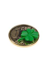 Vergoldeter Cent zum Aufkleben Kleeblatt