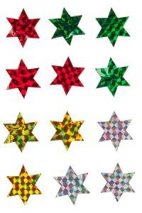 Filz-Sticker Glimmer-Sterne groß - 12er Pack