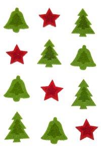 Filz-Sticker Weihnachtsmotive - 12er Pack