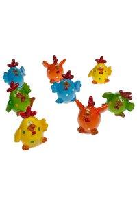 Miniaturen zum Aufkleben Hühner - 8er Set