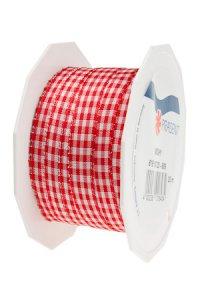 Stoffband Vichy 20 m, 10 mm rot/weiß