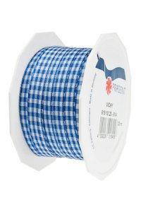 Stoffband Vichy 20 m, 10 mm royalblau/weiß