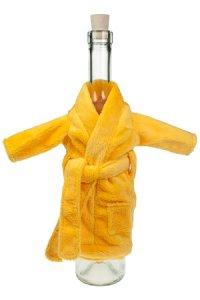 Flaschenverkleidung Mini-Bademantel gelb