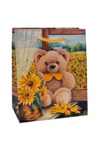 Geschenktasche Bärchen mit Sonnenblumen, 11 x 6 x 13,5 cm