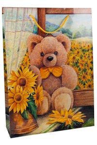 Geschenktasche Bärchen mit Sonnenblumen groß