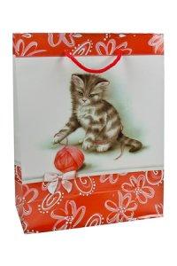 Geschenktasche Kätzchen mit Wollknäuel mittel