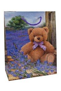 Geschenktasche Bärchen mit Flieder, 18 x 8 x 23 cm