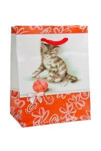 Geschenktasche Kätzchen mit Wollknäuel, 11 x 6 x 13,5 cm