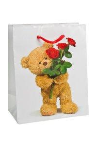 Geschenktasche Teddybär mit Rosen klein
