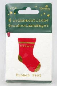 Weihnachtsanhänger - Weihnachssocke (VIERERPACK)