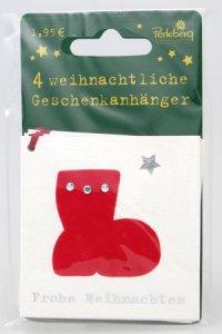 Weihnachtsanhänger - Stiefel (VIERERPACK)