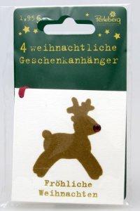 Weihnachtsanhänger - Rentier (VIERERPACK)