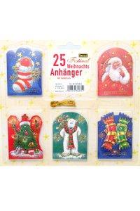 25 Weihnachtsanhänger mit Golddruck