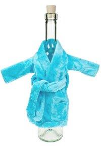 Flaschenverkleidung Mini-Bademantel hellblau