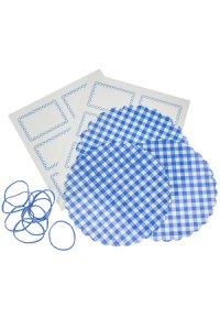 Deckchen-Set 32-teilig, 150 mm blau kariert