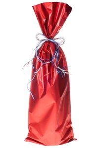 Flaschenbeutel rot matt metallic 18 x 50 cm - 50er Pack