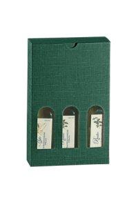 Flaschenkarton 3er 140 x 45 x 215 mm grün