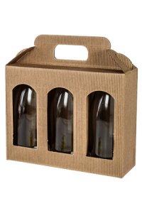 Gläserkarton 3er 190 x 60 x 150 mm natur