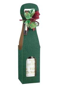 Weinflaschenkarton 1er mit Fenster grün
