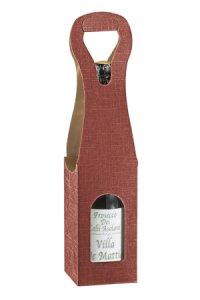 Weinflaschenkarton 1er mit Fenster bordeaux