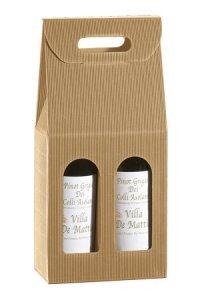 Weinflaschenkarton 2er mit Fenster natur