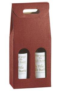 Weinflaschenkarton 2er mit Fenster bordeaux