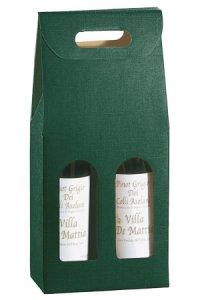 Weinflaschenkarton 2er mit Fenster grün