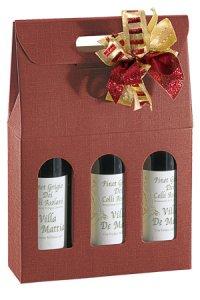 Weinflaschenkarton 3er mit Fenster bordeaux