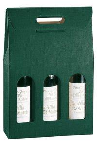 Weinflaschenkarton 3er mit Fenster grün