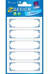 Schmucketiketten Rahmen blau