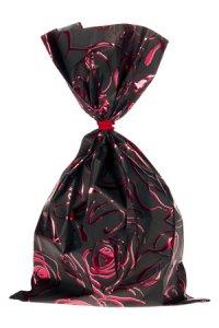Schmuckbeutel Rosenblüte schwarz 15 x 25 cm - 50er Pack
