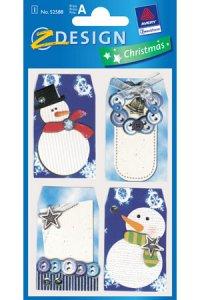 Weihnachtsetiketten Schneemänner