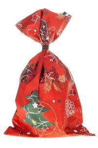 Schmuckbeutel Merry Christmas rot 15 x 25 cm - 10er Pack