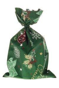 Schmuckbeutel Merry Christmas dunkelgrün 15x25cm-10er Pack