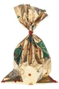 Schmuckbeutel Merry Christmas gold 20 x 35 cm - 10er Pack