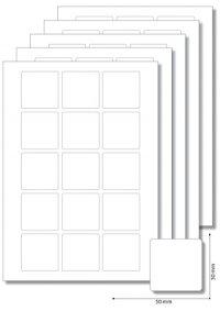 Etiketten 50 x 50 mm weiß -  5 Blatt A4