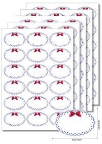 Etiketten oval Blauer Rahmen mit Schleife - 5 Blatt A4
