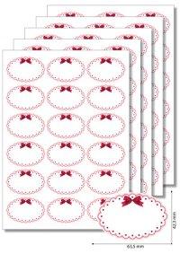 Etiketten oval Roter Rahmen mit Schleife - 20 Blatt A4