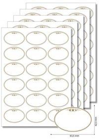 Etiketten oval Goldener Rahmen mit Sternen - 5 Blatt A4