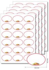 Etiketten oval Roter Rahmen mit Obst - 20 Blatt A4
